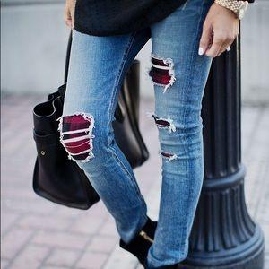 Rag & Bone Sloane plaid skinny Jeans 24/25